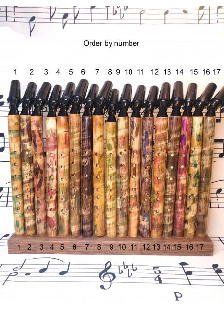 Hardwood  Bamboo Saxaflute in G. Coloured.